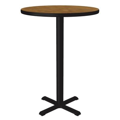 Correll BXT24R 06 24 Round Bar Cafe Table w/ 1.25 Pressure Top, 29 H, Oak/Black on Sale