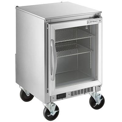 SB: Beverage Air UCR20Y-25-LED 20  Shallow Depth Low Profile Undercounter Refrigerator with Glass Door and LED Lighting 2.7 Cu. Ft. Keep food, bottled beverages, ingredients, and more cold and fresh with the Beverage-Air UCR20HC-25 20  shallow depth undercounter refrigerator! Great for pizzerias and prep kitchens, this undercounter refrigerator easily fits below your work space and...