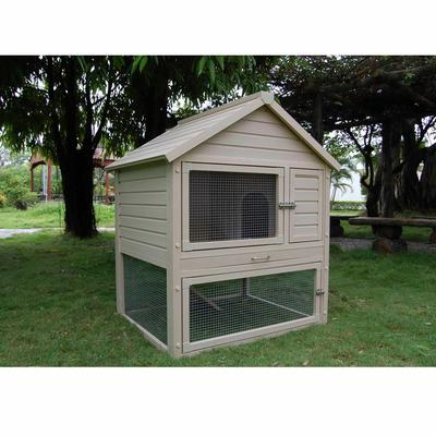 "New Age Pet Eco-Concepts Huntington Rabbit Hutch with Pen, 38.6"" L X 31.9"" W X 46.7"" H, 70 LBS, Tan"