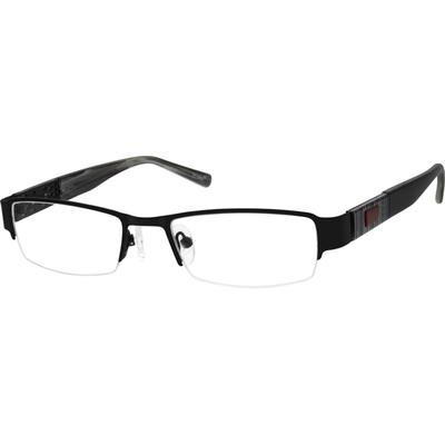 Zenni Mens Rectangle Prescription Glasses Half-Rim Black Frame Plastic 776121