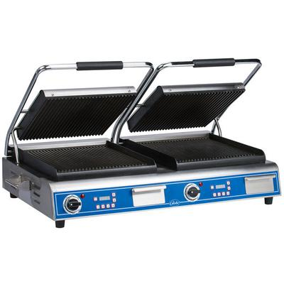 """Globe GPGDUE14D Deluxe Double Sandwich Grill with Grooved Plates - Dual 14"""" x 14"""" Cooking Surfaces - 208/240V, 7200W"""