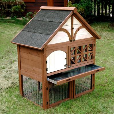 Provides your rabbits protection from predators and weather conditions. Comfortably holds up to 3-4 rabbits. Comes with a large removable tray and two bottom doors making cleaning easy. Extra storage in the attic.