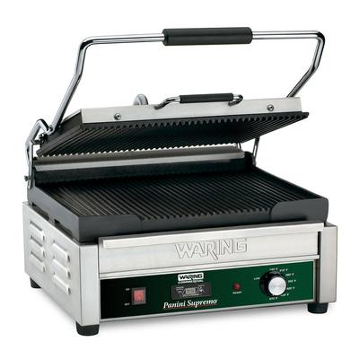Waring WPG250T Commercial Panini Press w/ Cast Iron Grooved Plates, 120v on Sale