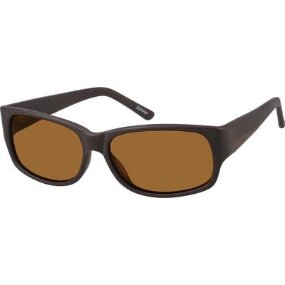 SB: Zenni Mens Sunglasses Brown Frame Plastic A10120515 Men's acetate full-rim non-Rx sunglasses. They include TAC polarized lenses and have full UV protection.