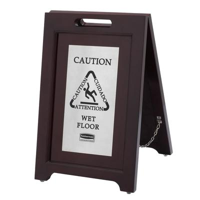 Rubbermaid 1867508 Executive Multi-Lingual Caution Sign - 2 Sided Wood/Silver on Sale