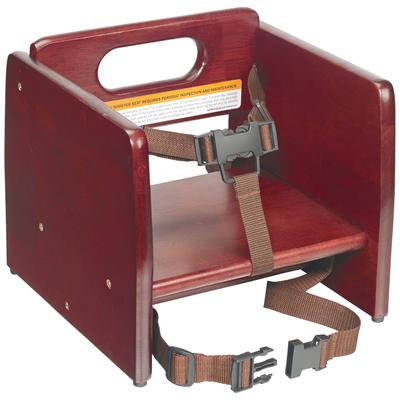 Winco CHB-703 Single-Height Booster Seat w/ Waist & Chair Strap - Wood, Mahogany on Sale