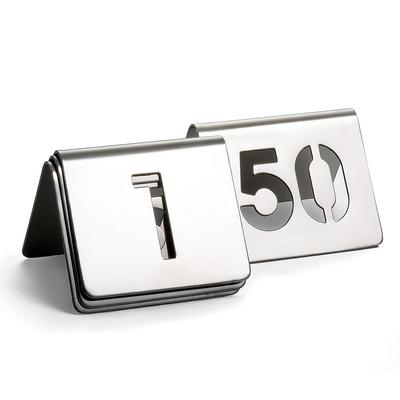 Tablecraft TC150 Tabletop Number Cards - #1 50, 2.5 x 2.5, Stainless on Sale