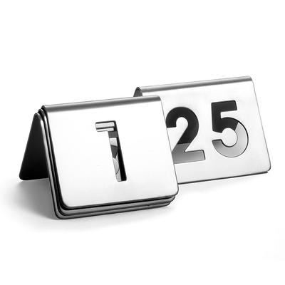 Tablecraft TC125 Tabletop Number Cards - #1 25, 2.5 x 2.5, Stainless on Sale