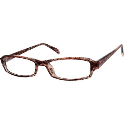 Zenni Womens Rectangle Prescription Glasses Red Frame Plastic 120528