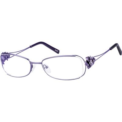 Zenni Womens Rectangle Prescription Glasses Purple Floral Frame Other Metal 154017