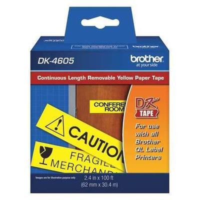 """BROTHER DK4605 2-1/2"""" Black/Yellow Paper Adhesive Removable Label"""