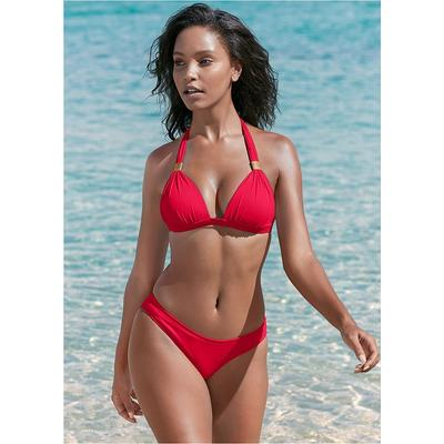Scoop Front Classic Bikini Bottom Moderate Bottoms  Red