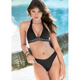 Embellished Halter TOP Push-Up Bikini Tops - Black