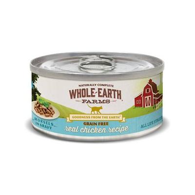 Whole Earth Farms Grain-Free Morsels in Gravy Chicken Recipe Canned Cat Food, 5-oz, case of 24