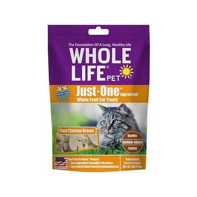 Whole Life Just One Ingredient Pure Chicken Breast Freeze-Dried Cat Treats, 4-oz bag