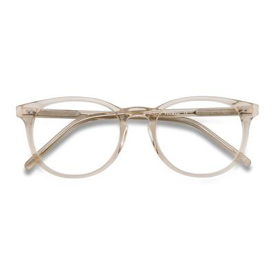 Female's Round Champagne Acetate Prescription eyeglasses - EyeBuydirect's Aura