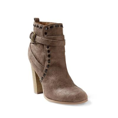 """Wrap Stitch Detail Booties - Neutral/brown"""