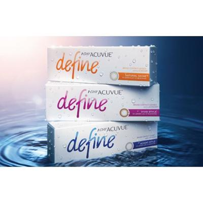 SB: 1-Day Acuvue Define Natural Shine cosmetic color Contact Lenses 1 Day Acuvue Define Natural Shine cosmetic contact lens is the latest member of the 1-Day Acuvue Define Series. This Lens has a dark grey limbal ring with glittering gold shine giving you eyes that look bigger and glamorous.