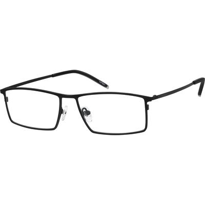 Zenni Mens Rectangle Prescription Glasses Black Frame Titanium 137021