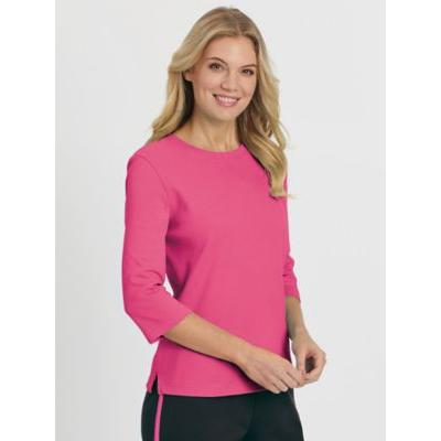 Women's Fresh Three-Quarter Sleeve Top, Hot Pink L Misses