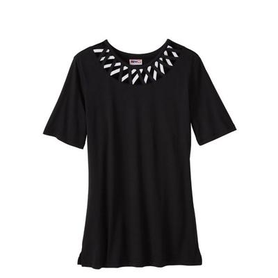 SB: Women's Criss-Cross Knit Top, Black, Size 2XL Sweaters & Cardigans by Haband. Comes in Black, Size 2XL.  The pullover neckline is kissed with cutout X's adding breezy charm to this lightweight knit. Short sleeves, straight hem, allover softness. Machine care polyester. 26  L. Imported.  .