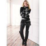 Contrasted Fringe Sweater Sweaters - Black/white
