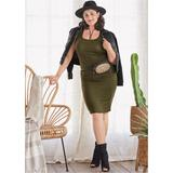 Plus Size Ruched Tank Dress Dresses - Green