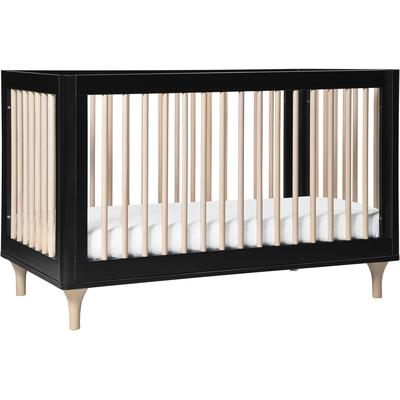 BabyLetto Lolly 3-In-1 Convertible Crib with Toddler Bed Conversion Kit - Black/WashedNatural