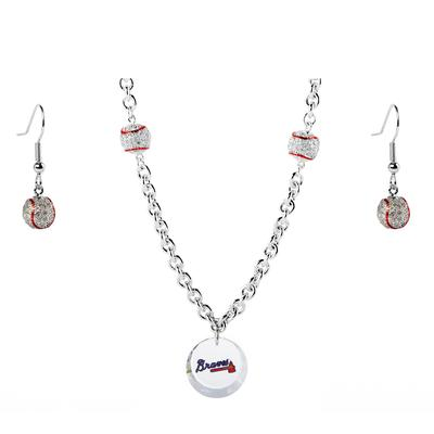 """Atlanta Braves Crystals from Swarovski Baseball Necklace & Earrings"""