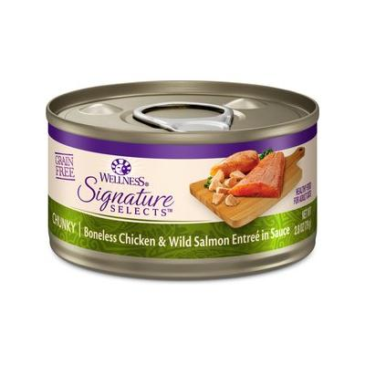 Wellness CORE Signature Selects Chunky Boneless Chicken & Wild Salmon Entree in Sauce Grain-Free Canned Cat Food, 2.8-oz, case of 12