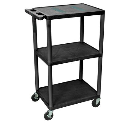 Luxor LE42-B 42 3 Level A/V Utility Cart w/ 400 lb Capacity - Plastic, Black on Sale