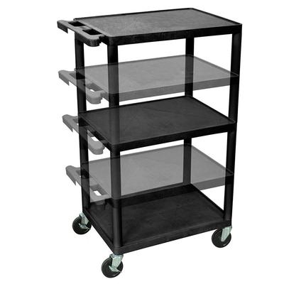 Luxor LPDUO-B 3 Level A/V Utility Cart w/ 400 lb Capacity - Adjustable Height, Plastic, Black on Sale