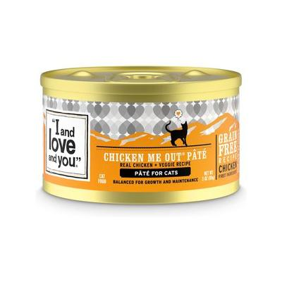 I and Love and You Chicken Me Out Pate Grain-Free Canned Cat Food, 5.5-oz, case of 12