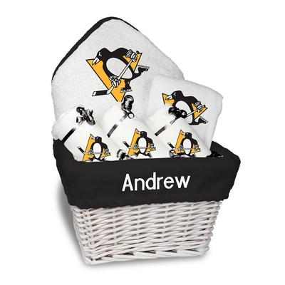 Newborn & Infant White Pittsburgh Penguins Personalized Medium Gift Basket