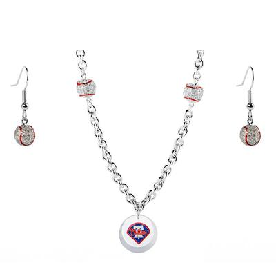 Philadelphia Phillies Crystals from Swarovski Baseball Necklace & Earrings