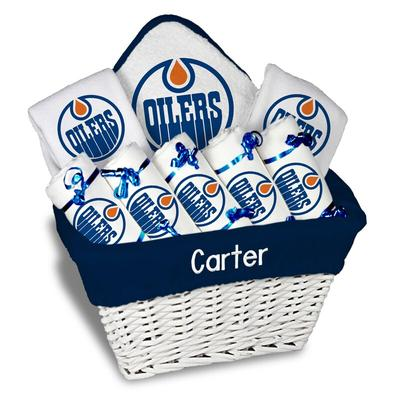 Edmonton Oilers Newborn & Infant Personalized Large Gift Basket - White