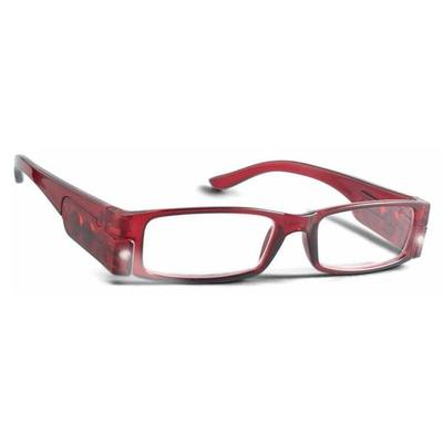 PS Designs 02127 - Cranberry - 1.25, Bright Eye Readers (PRG6-1.25) 1.25 Magnification LED Reading Glasses