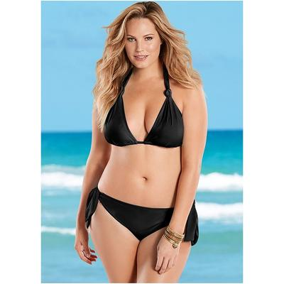 Plus Size LOW Rise Sash Bikini Bottom Moderate Bottoms  Black
