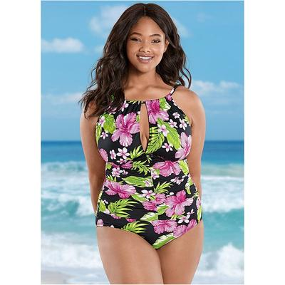 Plus Size THE Aloha OnePiece OnePiece Swimsuits & Monokinis  Pink/green/black