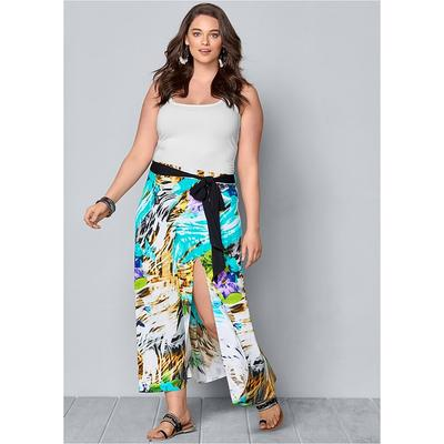 Plus Size Belted Print Maxi Skirt  Multi/blue