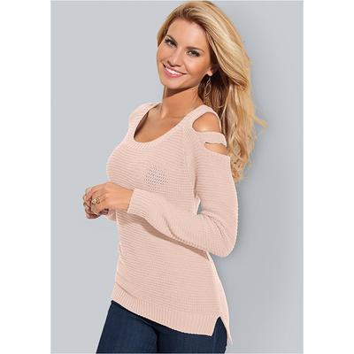 Cut Out Sleeve Sweater Sweaters - Pink