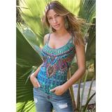 Embellished Print Tank Top Tops - Blue/Multi
