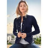 TAB Button Detail Cardigan Sweaters - Blue