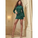Sequin Detail Velvet Dress - Green