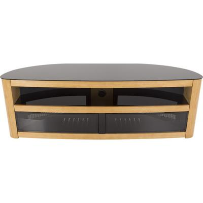 AVF Burghley Affinity Plus Curved TV Stand 1500- Oak w/ Black Glass