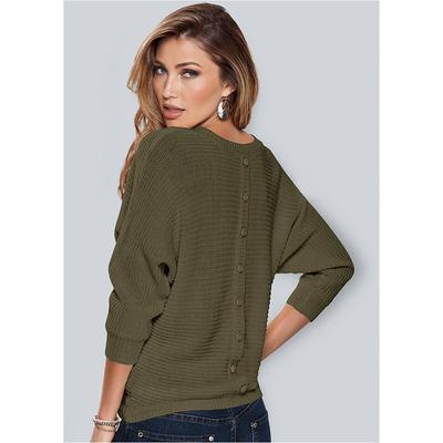 Button Back Detail Sweater Sweaters  Green