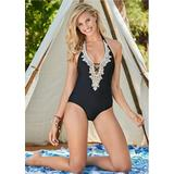 Beaded Crochet One-Piece One-Piece Swimsuits & Monokinis - Black