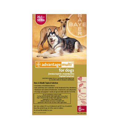 Advantage Multi (Advocate) Large Dogs 20.1-55 Lbs (Red) 3 Doses