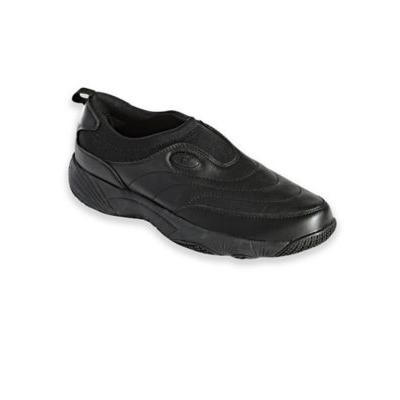 Men's Propet® Wash & Wear Leather and Suede Slip-Ons, Black 10.5 Extra Wide