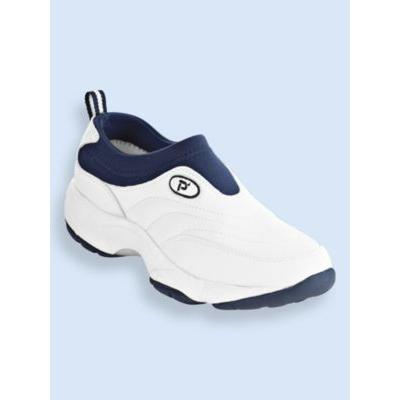 Men's Propet® Wash & Wear Leather and Suede Slip-Ons, White/Navy 10 Extra Wide